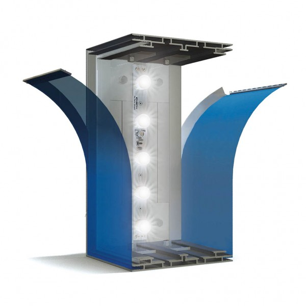 Doppelseitige Power LED-BOX mit Textilspanntechnik aus Aluminium.